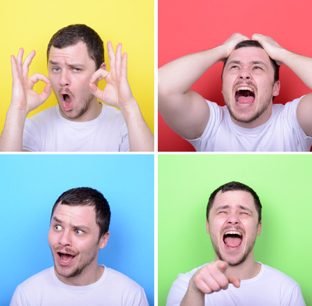 Collage of man with different facial expressions against multicolored backgrounds photo