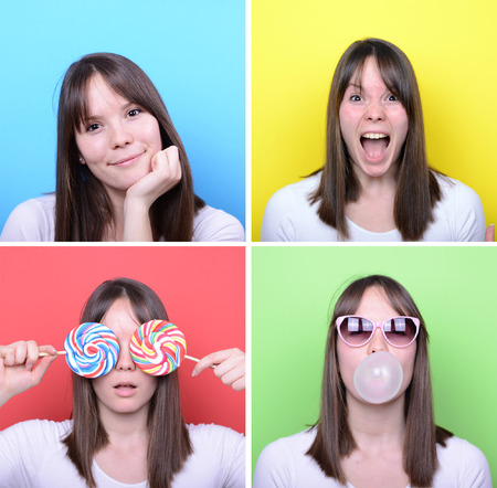 Collage of woman with different facial expressions against multicolored backgrounds photo