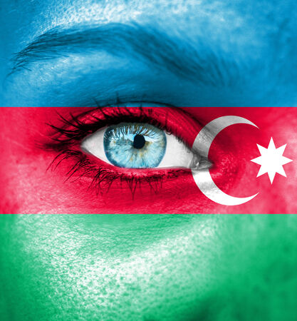 azerbaijanian: Woman face painted with flag of Azerbaijan