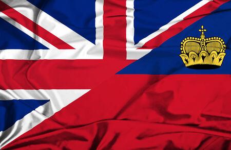 lichtenstein: Waving flag of Lichtenstein and UK
