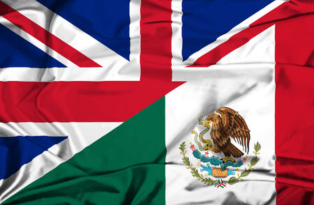flag mexico: Waving flag of Mexico and UK Stock Photo