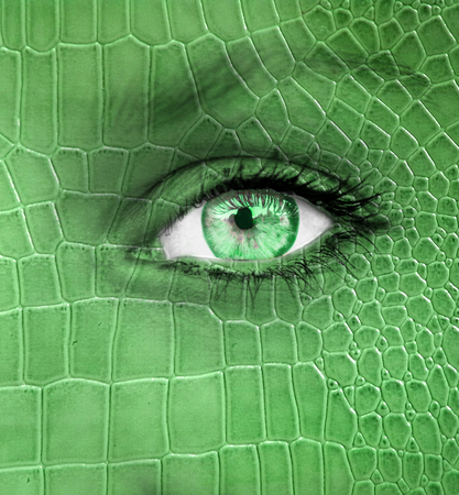 Human face with dragon skin texture   photo