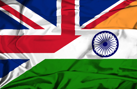 great britain flag: Waving flag of India and UK