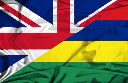 Waving flag of Mauritius and UK