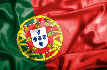 portugese: Portugal waving flag Stock Photo