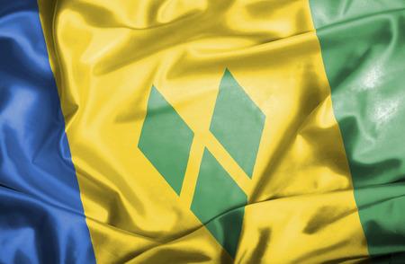 grenadines: Saint Vincent and Grenadines waving flag Stock Photo