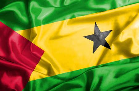 tomo: Sao Tome e Principe flag waving Archivio Fotografico