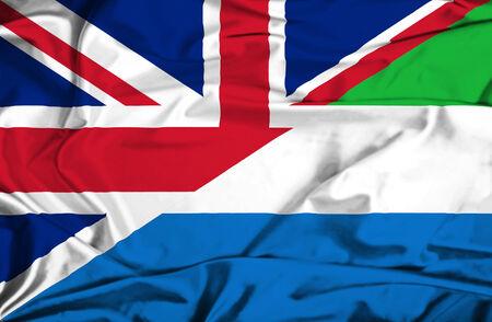 sierra: Waving flag of Sierra Leone and UK