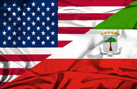 equatorial: Waving flag of Equatorial Giuinea and USA Stock Photo