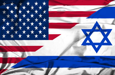 Waving flag of Israel and USA photo