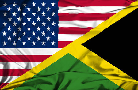 Waving flag of Jamaica and USA photo