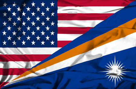 marshall: Waving flag of Marshall Islands and USA