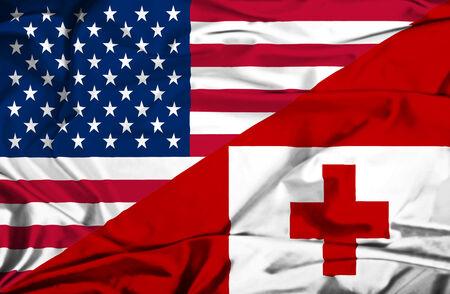 tonga: Waving flag of Tonga and USA Stock Photo