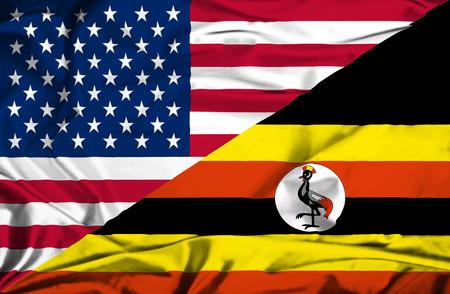 uganda: Waving flag of Uganda and USA