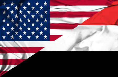 Waving flag of Yemen and USA photo