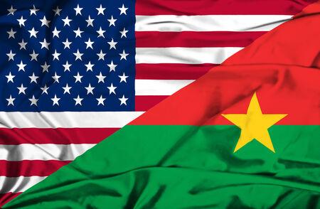 burkina faso: Waving flag of Burkina Faso and USA