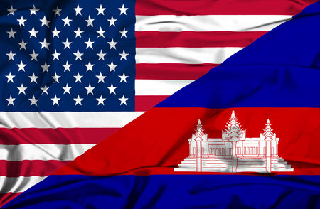 cambodian flag: Waving flag of Cambodia and USA