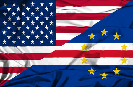 cape verde: Waving flag of Cape Verde and USA Stock Photo