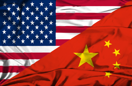 Waving flag of China and USA Stock Photo