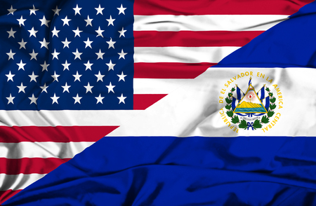el salvador flag: Waving flag of El Salvadorand USA