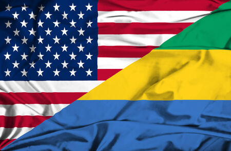 Waving flag of Gabon and USA