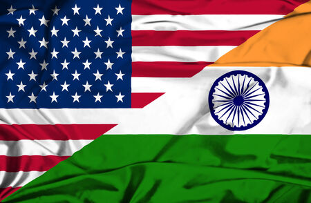 indian money: Waving flag of India and USA