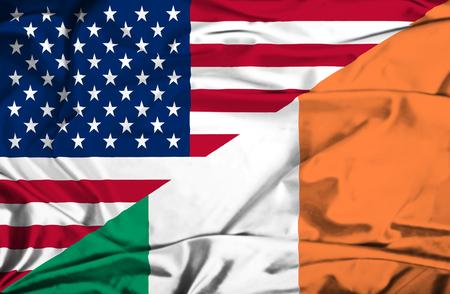 Waving flag of Ireland and USA