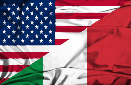 immigrant: Waving flag of Italy and USA Stock Photo