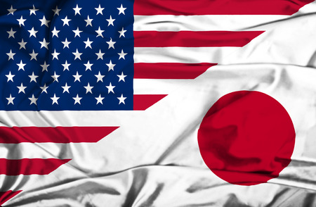 Waving flag of Japan and USA Banque d'images