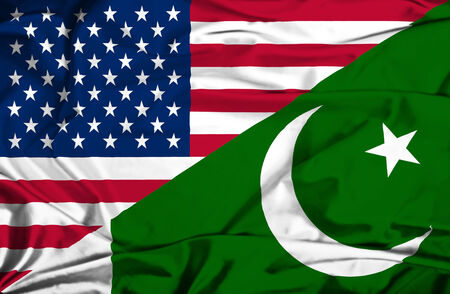 pakistan flag: Waving flag of Pakistan and USA