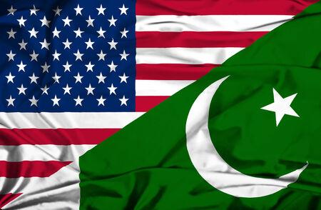 flag of pakistan: Waving flag of Pakistan and USA