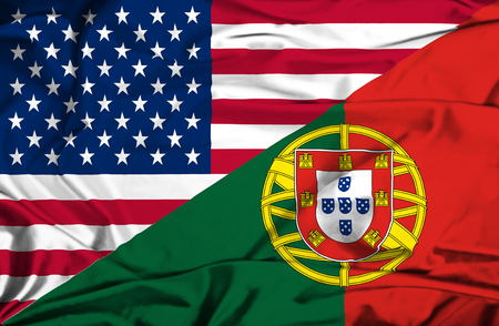 portugese:  Waving flag of Portugal and USA