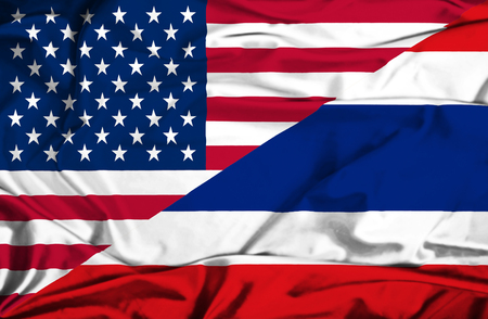 Waving flag of Thailand and USA photo