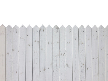 White wooden fence isolated on white background with copy space photo