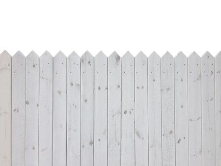 Wit houten hek op een witte achtergrond met een kopie ruimte