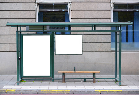 bus stop: Empty billboard at Bus station - Perfect angle for your add