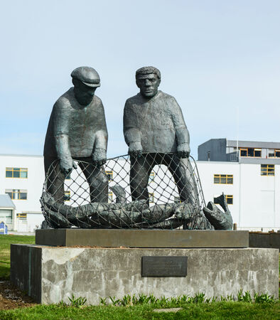 Monument to fishermans of Iceland at Isafjordur Iceland