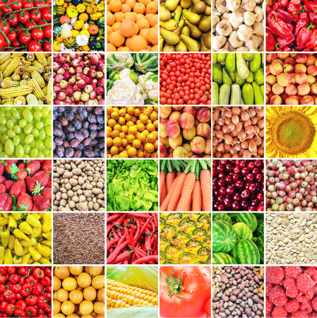 Huge collage of various healthy Fruit and Vegetables Stock Photo