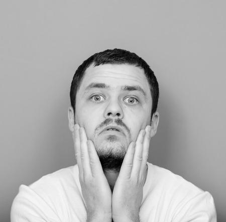 monocrome: Portrait of desperate man - Monocrome or black and white portrait