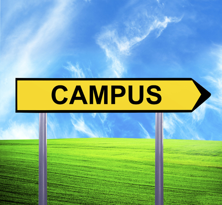 Conceptual arrow sign against beautiful landscape with text - CAMPUS