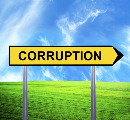 the corruption: Conceptual arrow sign against beautiful landscape with text - CORRUPTION Stock Photo