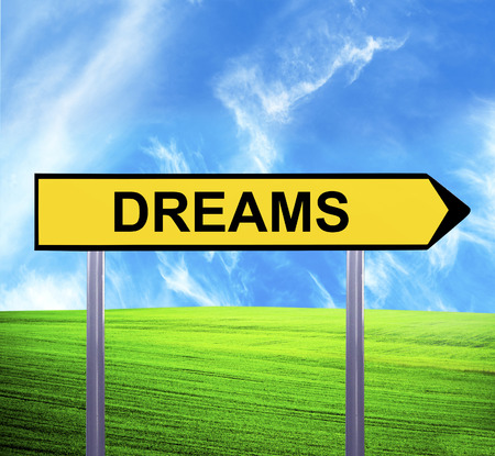 toward: Conceptual arrow sign against beautiful landscape with text - DREAMS