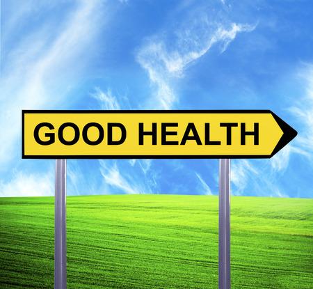 good health: Conceptuele pijl teken tegen prachtig landschap met tekst - GOEDE GEZONDHEID Stockfoto