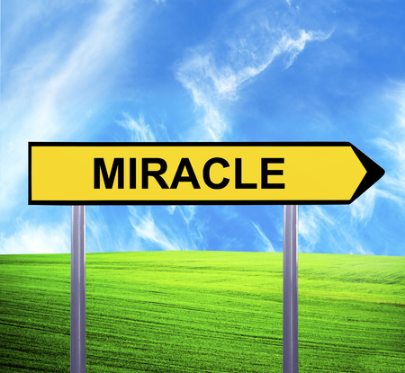 sensation: Conceptual arrow sign against beautiful landscape with text - MIRACLE