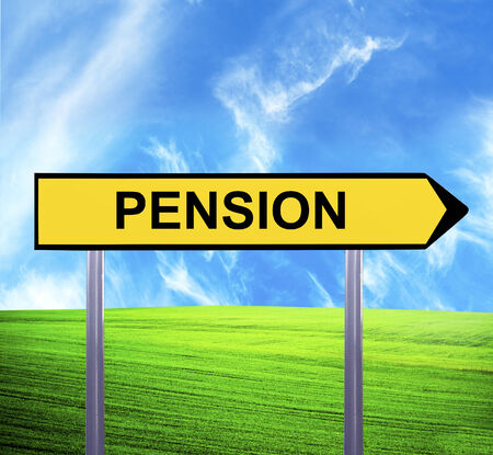 annuity: Conceptual arrow sign against beautiful landscape with text - PENSION Stock Photo