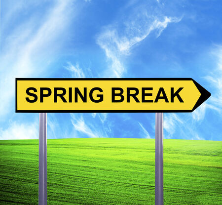 recess: Conceptual arrow sign against beautiful landscape with text - SPRING BREAK Stock Photo
