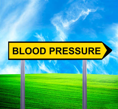 diastolic: Conceptual arrow sign against beautiful landscape with text - BLOOD PRESSURE Stock Photo