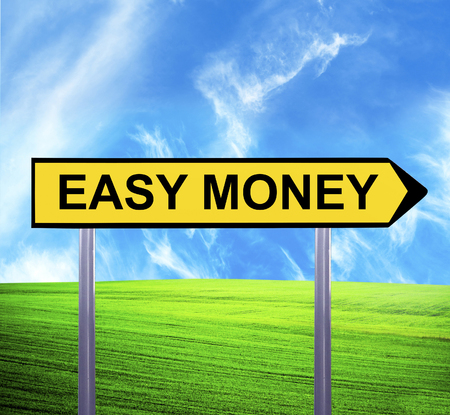 easy money: Conceptual arrow sign against beautiful landscape with text - EASY MONEY Stock Photo