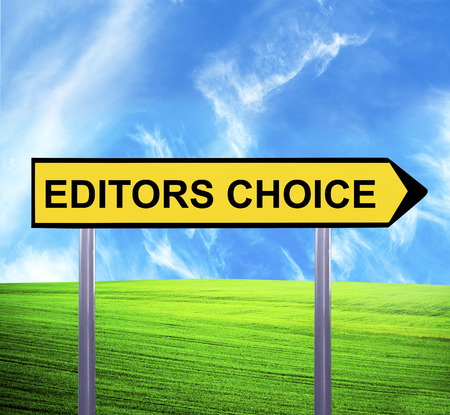 editors: Conceptual arrow sign against beautiful landscape with text - EDITORS CHOICE