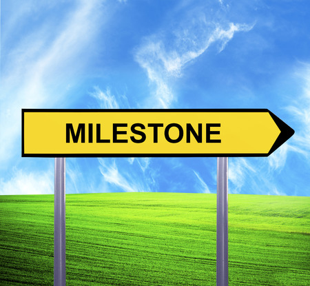 turning point: Conceptual arrow sign against beautiful landscape with text - MILESTONE